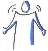 Foto eines gemalten Menschen, der die Schulter hebt.