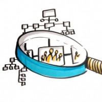 Foto einer Zeichnung mit einer Lupe, die ein Organigram vergrößert.