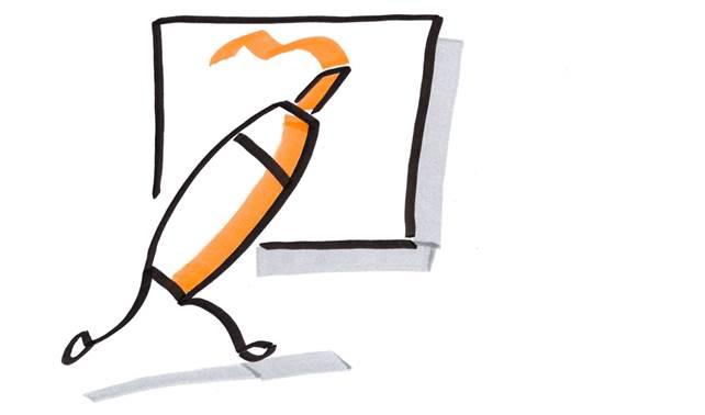 Scan eines Bildes eines farbigen Stiftes mit Beinen, der auf einem Plakat malt.