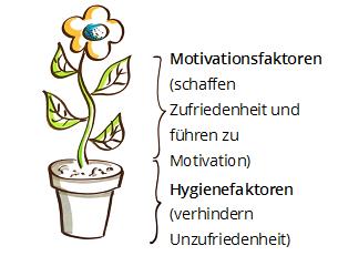 Photo einer gemalten Blume mit Motivations- und Hygienefaktorenfaktoren.