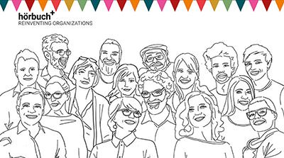 Graphisches Cover des Hörbuchs Reinventing Organizations