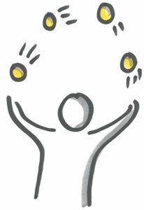 Karikatur von einer Person, die Jongliert mit 4 Bällen