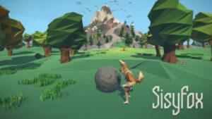 Bild von einem Physiotherapiespiel auf dem ein Wald mit Bäumen zu sehen ist, im hintergrund ist ein Berg. Vorne ist eine Spielfigur zu sehen mit einem sehr großen runden Stein