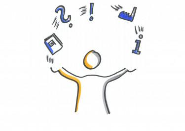 Karikatur von einer Person die Jongliert mit einem Buch, Fragezeichen, Ausrufezeichen, einem Infozeichen ect.