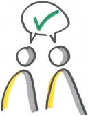 Foto mit einer Skizze von zwei Personen, über deren Köpfen ist eine Sprechblase mit einem grünen Hacken