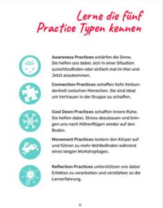 Foto von einer Broschüre der 5 Practice Typen