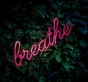 """Foto mit einer rosa leuchteschriftzug """"breathe"""""""