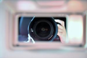 Foto von einer Spiegelreflexkamera von vorne