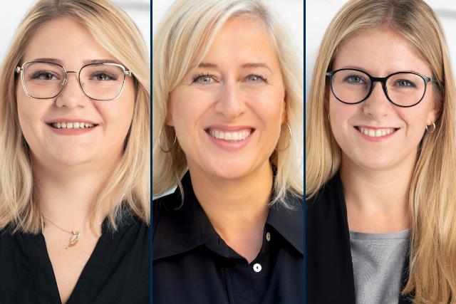 Photocollage von unseren neuen denkmodell-Mitarbeiterinnen Nina Ziegler, Carina Waldhoff und Franziska Sophie Frank.