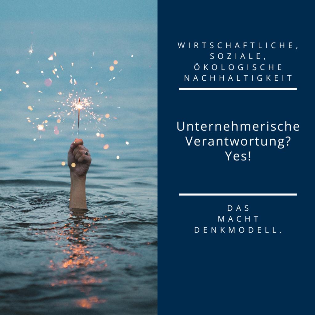 Photo einer Hand, die aus dem Wasser ragt und eine Wunderkerze hält, auf der rechten Seite Disclaimer zu unserer Unternehmensverantwortung.